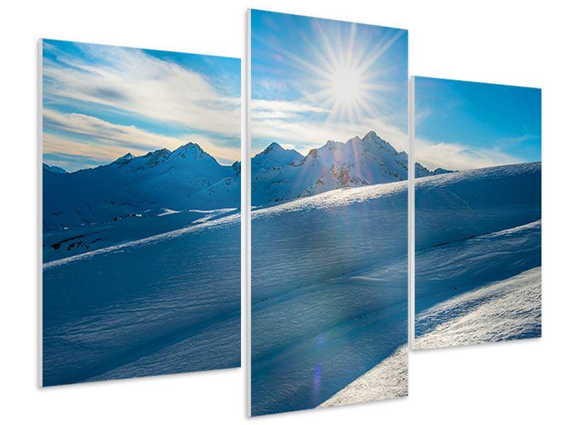 Hartschaumbild 3-teilig modern Ein Wintermärchen in den Bergen