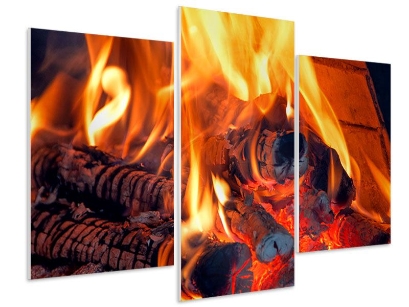 Hartschaumbild 3-teilig modern Lagerfeuer