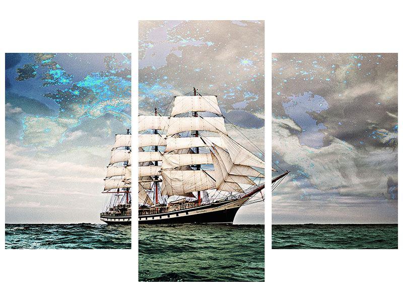Hartschaumbild 3-teilig modern Segelschiff