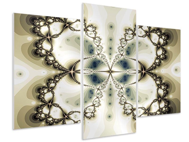 Hartschaumbild 3-teilig modern Abstrakter Schmetterling