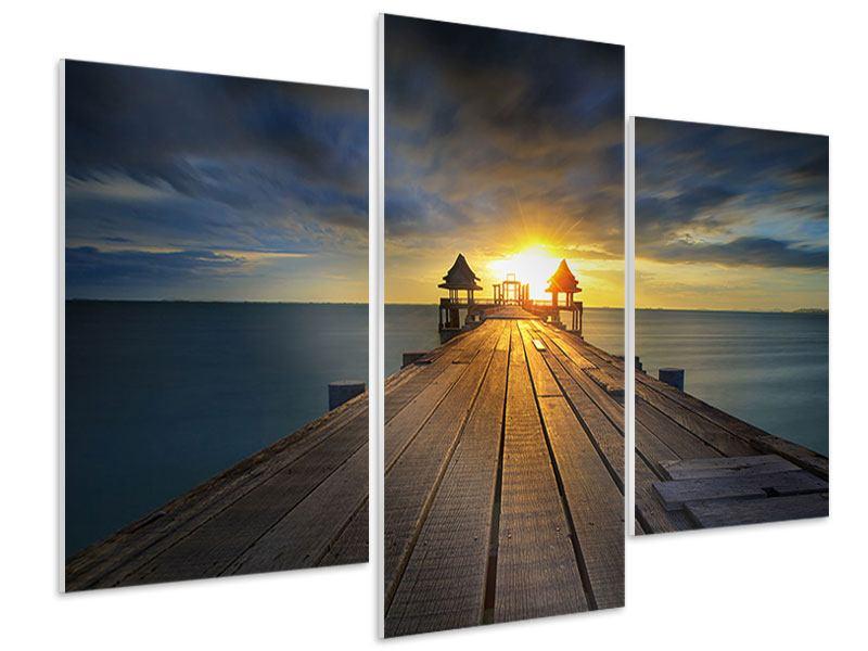 Hartschaumbild 3-teilig modern Der Sonnenuntergang bei der Holzbrücke