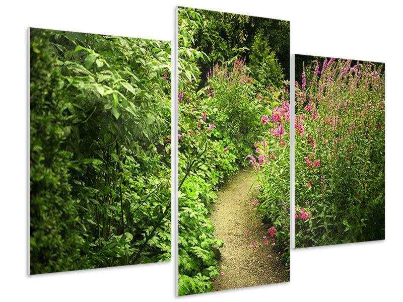 Hartschaumbild 3-teilig modern Gartenweg