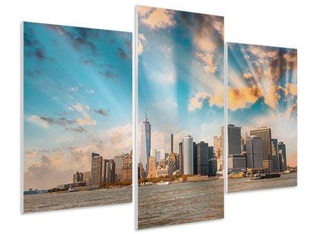Hartschaumbild 3-teilig modern Skyline New York from the other Side