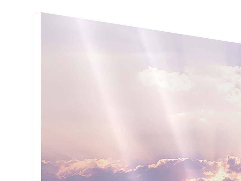 Hartschaumbild 3-teilig modern Sonnenaufgang am Meer