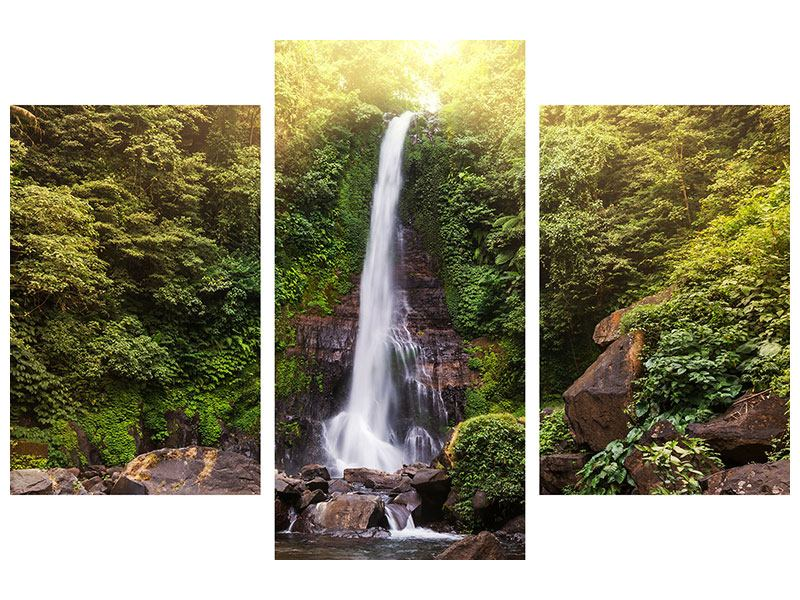 Hartschaumbild 3-teilig modern Wasserfall Bali