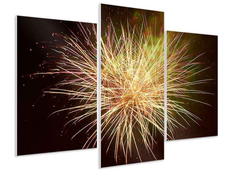 Hartschaumbild 3-teilig modern Feuerwerk XXL
