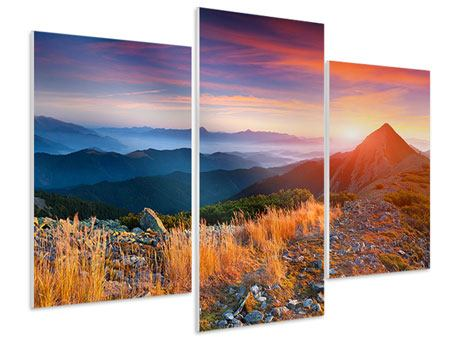 Hartschaumbild 3-teilig modern Sonnenuntergang in den Alpen