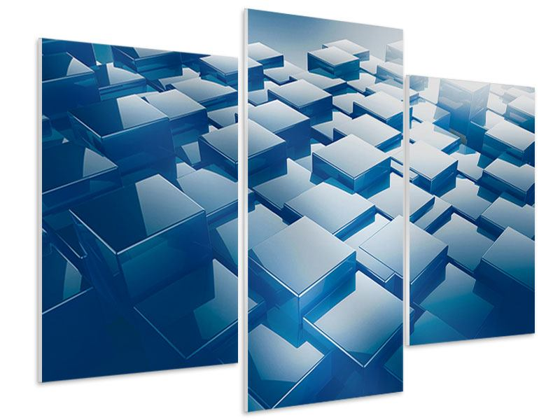 Hartschaumbild 3-teilig modern 3D-Cubes