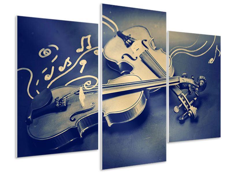 Hartschaumbild 3-teilig modern Geigen