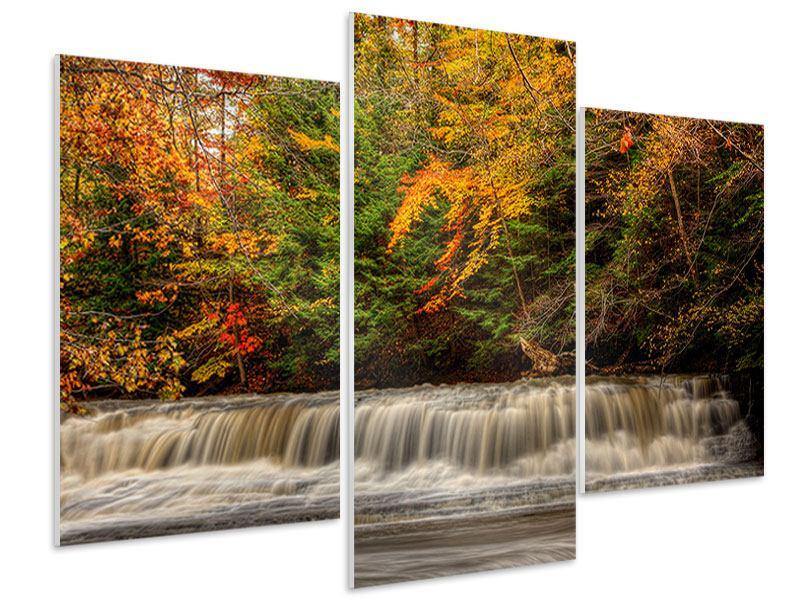 Hartschaumbild 3-teilig modern Herbst beim Wasserfall