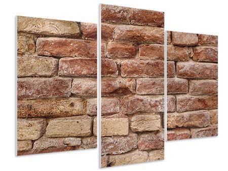 Hartschaumbild 3-teilig modern Loft-Mauer