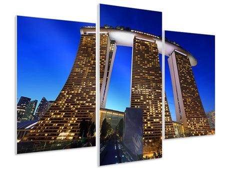 Hartschaumbild 3-teilig modern Wolkenkratzer Singapur