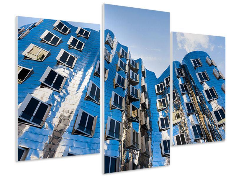 Hartschaumbild 3-teilig modern Neuer Zollhof
