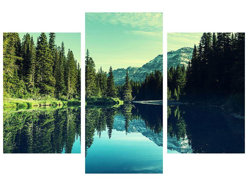 Hartschaumbild 3-teilig modern Die Musik der Stille in den Bergen