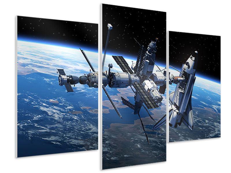 Hartschaumbild 3-teilig modern Satellit