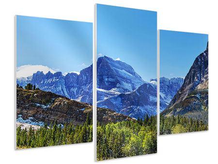 Hartschaumbild 3-teilig modern Dem Gipfel entgegen
