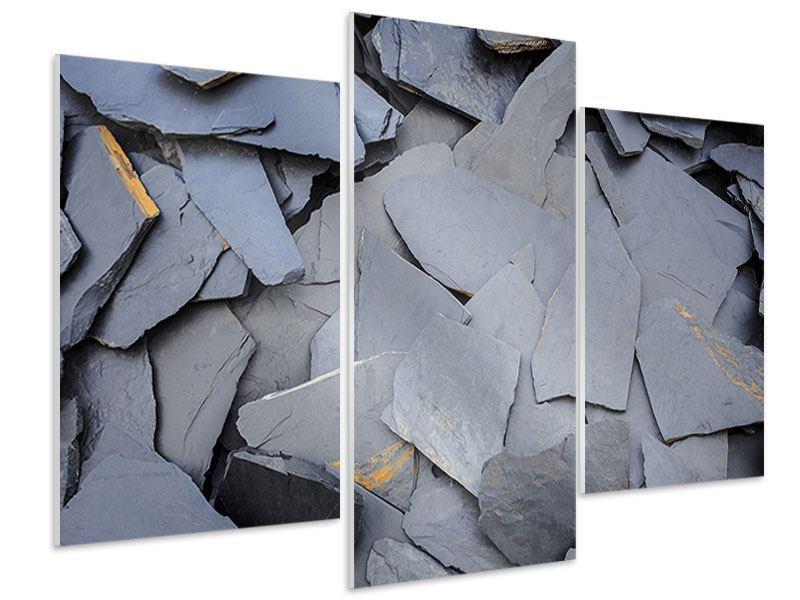 Hartschaumbild 3-teilig modern Schieferplatten