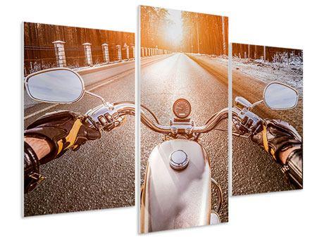 Hartschaumbild 3-teilig modern Auf dem Motorrad