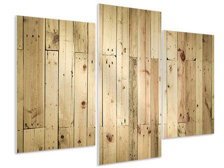 Hartschaumbild 3-teilig modern Holzpaneelen