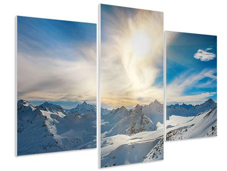 Hartschaumbild 3-teilig modern Über den verschneiten Gipfeln