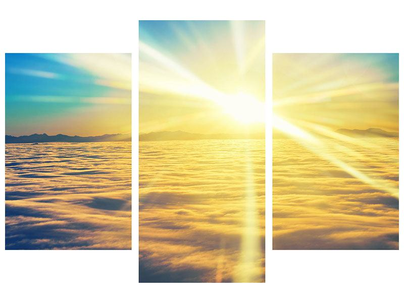 Hartschaumbild 3-teilig modern Sonnenuntergang über den Wolken