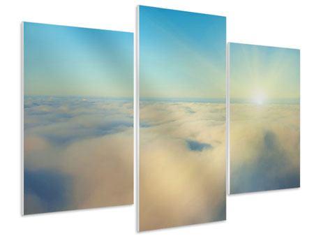 Hartschaumbild 3-teilig modern Dämmerung über den Wolken