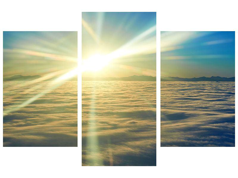 Hartschaumbild 3-teilig modern Sonnenaufgang über den Wolken