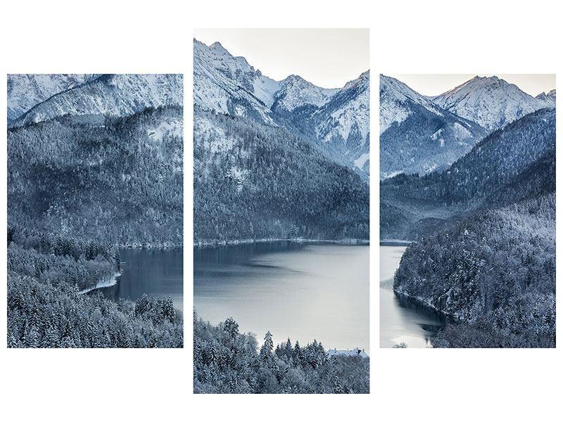 Hartschaumbild 3-teilig modern Schwarzweissfotografie Berge