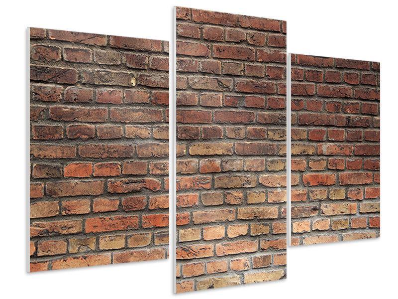 Hartschaumbild 3-teilig modern Brick Wall