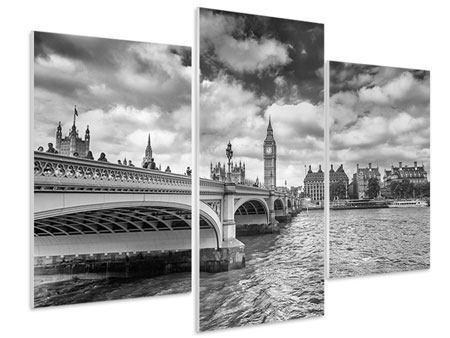 Hartschaumbild 3-teilig modern Westminster Bridge