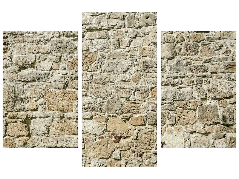 Hartschaumbild 3-teilig modern Naturmauer