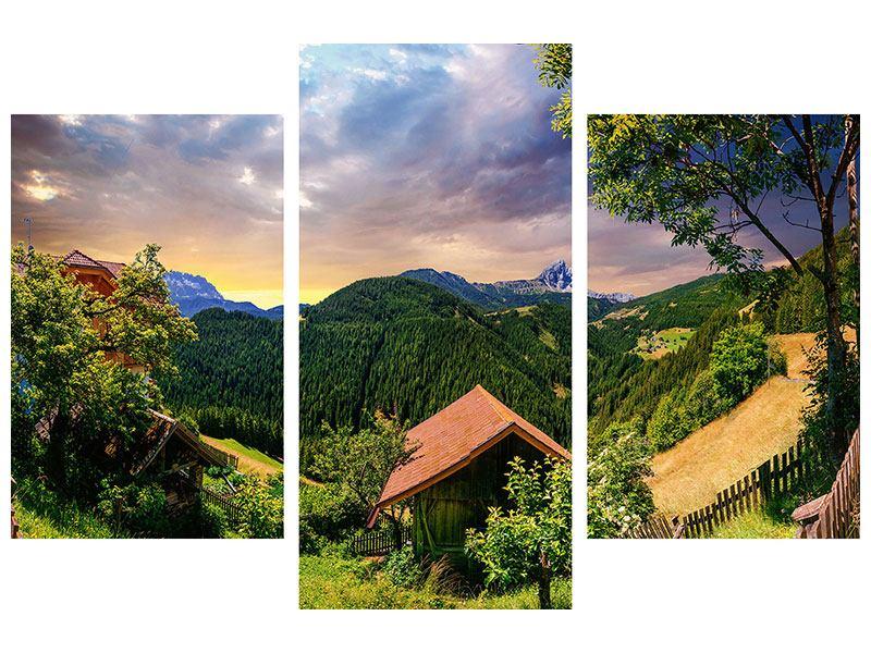 Hartschaumbild 3-teilig modern Schweizer Berge im Sommer