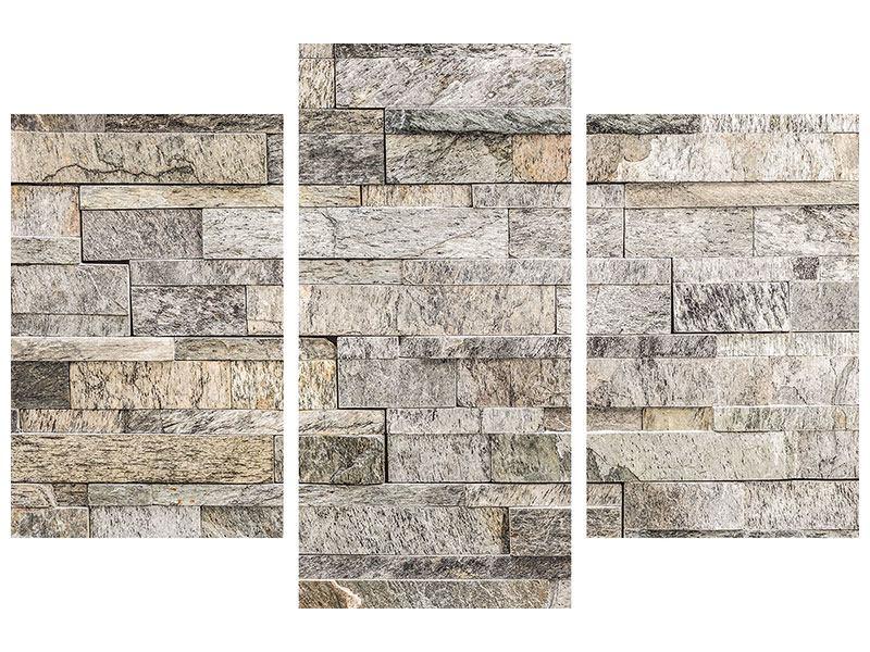 Hartschaumbild 3-teilig modern Elegante Steinmauer