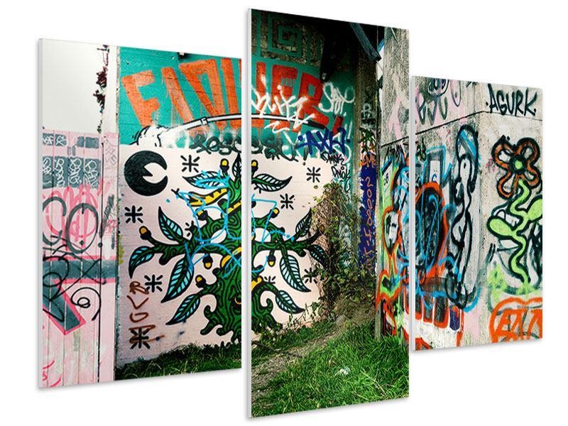 Hartschaumbild 3-teilig modern Graffiti im Hinterhof