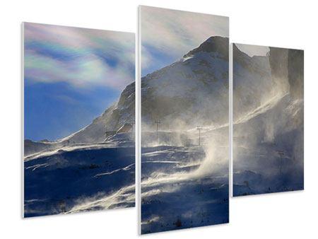 Hartschaumbild 3-teilig modern Mit Schneeverwehungen den Berg in Szene gesetzt