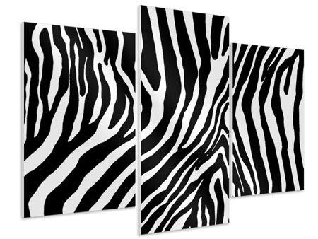 Hartschaumbild 3-teilig modern Zebramuster