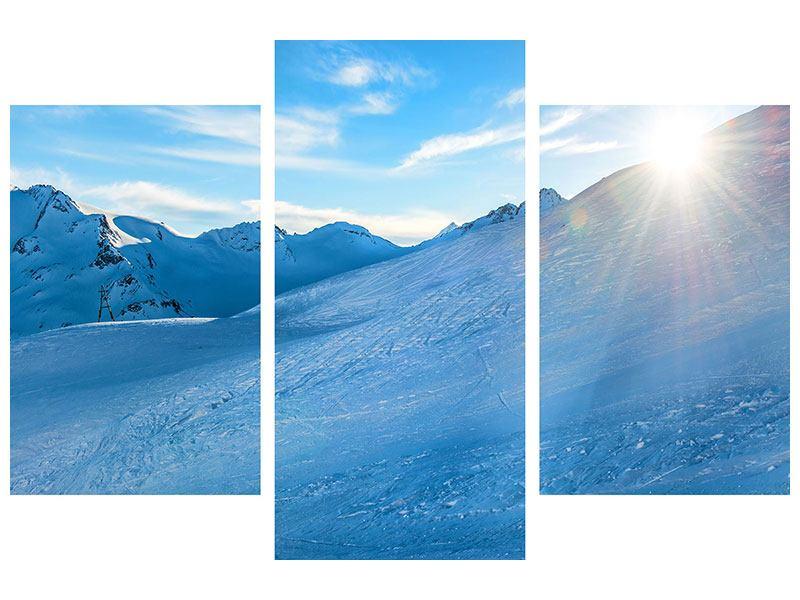 Hartschaumbild 3-teilig modern Sonnenaufgang in den Bergen