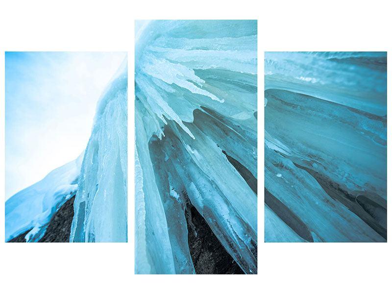 Hartschaumbild 3-teilig modern Die Eiswand