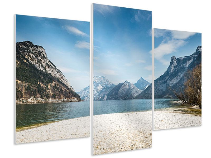 Hartschaumbild 3-teilig modern Der idyllische Bergsee