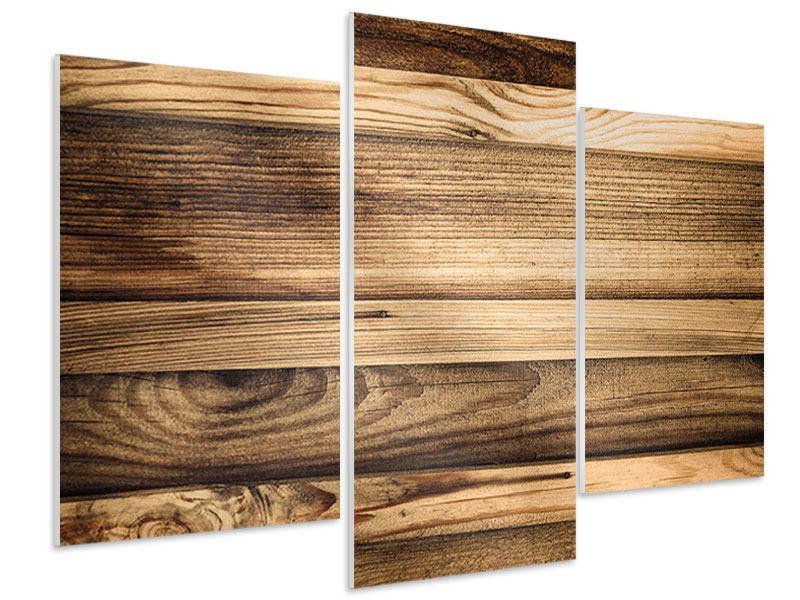 Hartschaumbild 3-teilig modern Holztrend