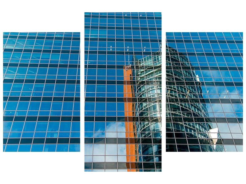 Hartschaumbild 3-teilig modern Wolkenkratzer-Spiegel