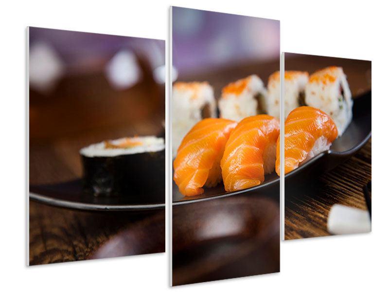 Hartschaumbild 3-teilig modern Sushi-Gericht