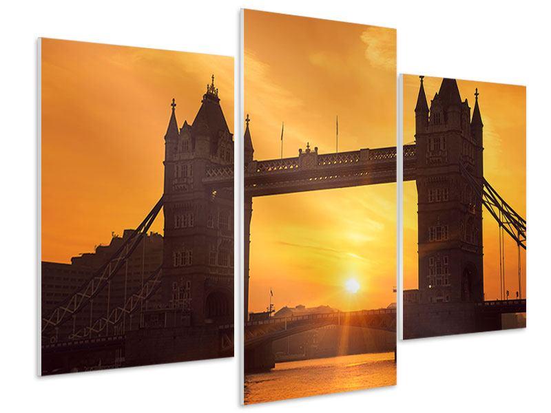Hartschaumbild 3-teilig modern Sonnenuntergang bei der Tower-Bridge