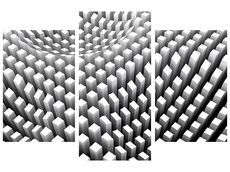 Hartschaumbild 3-teilig modern 3D-Rasterdesign