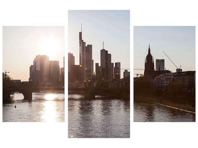 Hartschaumbild 3-teilig modern Skyline Sonnenaufgang bei Frankfurt am Main