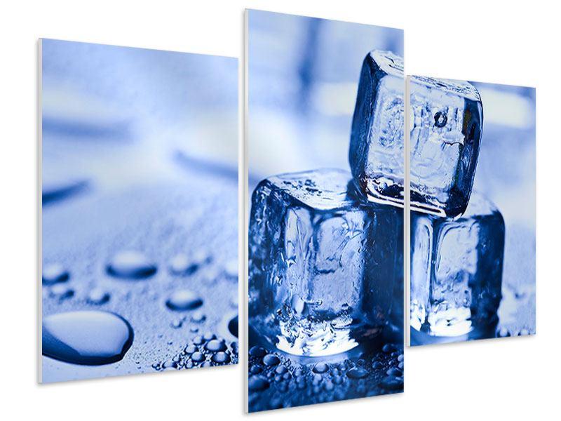 Hartschaumbild 3-teilig modern Eiswürfel