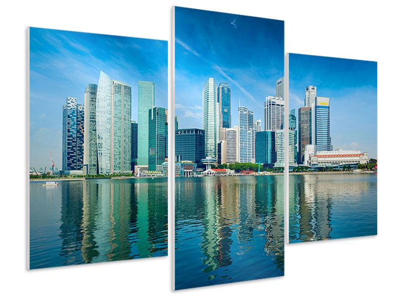 Hartschaumbild 3-teilig modern Skyline Mexiko-Stadt