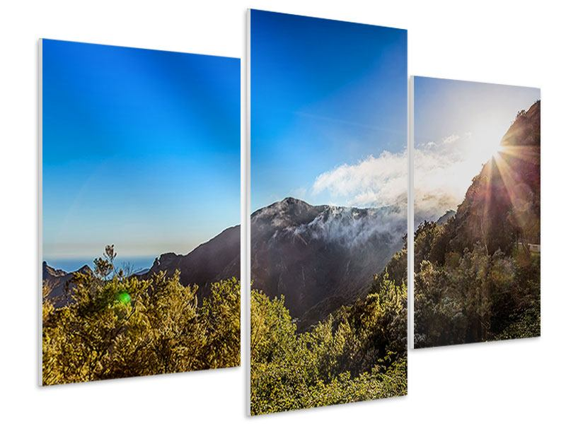 Hartschaumbild 3-teilig modern Berge am Meer