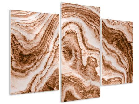 Hartschaumbild 3-teilig modern Marmor in Sepia