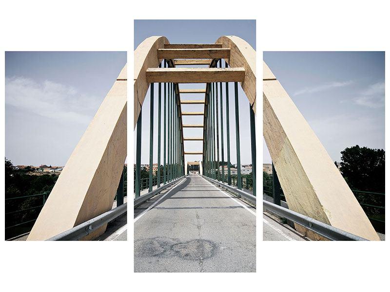 Hartschaumbild 3-teilig modern Imposante Hängebrücke